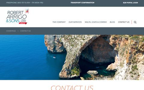 Screenshot of Contact Page robertarrigo.com - Malta Travel Specialists | Contact us - captured Oct. 19, 2018
