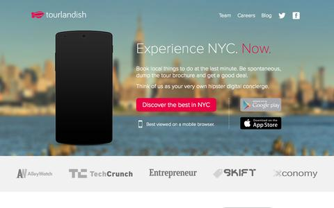Screenshot of Home Page tourlandish.com - Experience Tours, Activities & Experiences in New York City. - captured Sept. 22, 2014