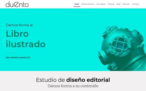 Screenshot of Home Page duento.com - Estudio de diseño editorial – Servicios de maquetación especializado en libros de texto y en literatura infantil y juvenil (LIJ). - captured Nov. 6, 2018
