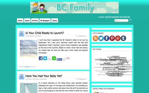 Screenshot of Press Page bcfamily.ca - In The News | BC Family - captured Oct. 4, 2014