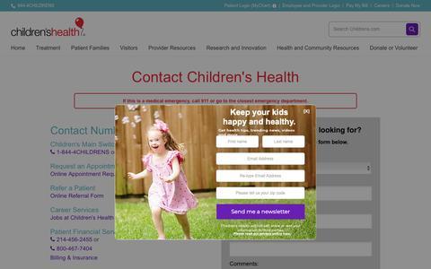 Screenshot of Contact Page childrens.com - Contact Children's Health - captured Dec. 26, 2018