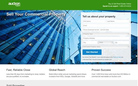 Screenshot of Landing Page auction.com captured Oct. 27, 2014