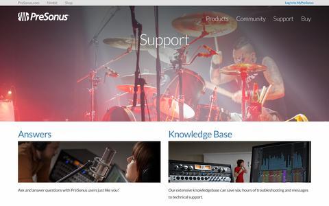 Screenshot of Support Page presonus.com - Support | PreSonus - captured Sept. 4, 2016