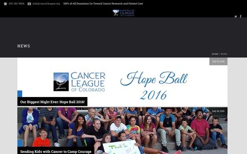 Screenshot of Press Page cancerleague.org - News – Cancer League of Colorado - captured Oct. 20, 2016