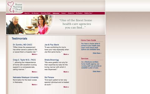 Screenshot of Testimonials Page homenursingwithheart.com - Home Nursing With Heart - TESTIMONIALS - captured Oct. 3, 2014