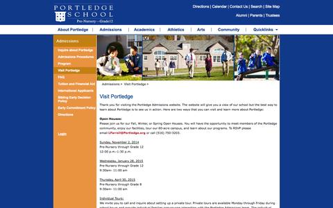 Screenshot of Contact Page portledge.org - Portledge School -> Admissions -> Visit Portledge - captured Oct. 8, 2014
