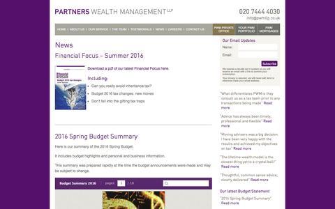 Screenshot of Press Page partnerswealthmanagement.co.uk - News   Partners Wealth Management - captured July 11, 2016
