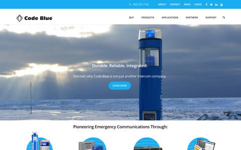 Screenshot of Home Page codeblue.com - Code Blue Corporation–Emergency Blue Light Phones | Pioneering emergency communication manufacturer.  Durable, American-made blue light phones and mass notification software for indoors and outdoors. - captured Jan. 29, 2016