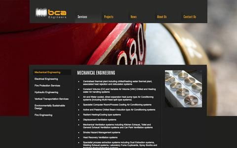 Screenshot of Services Page bcaengineers.com - BCA Engineers :: Services - Mechanical Engineering - captured Sept. 26, 2014