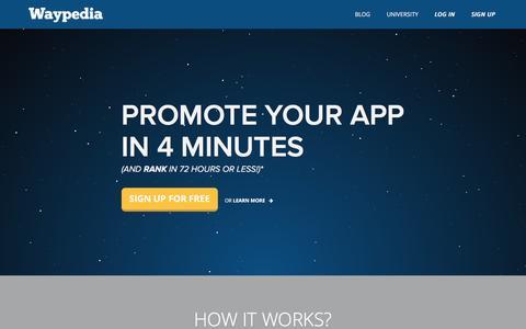 Screenshot of Home Page waypedia.com - Mobile Advertising | Waypedia - captured Sept. 6, 2016