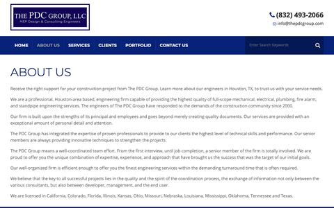 Screenshot of About Page thepdcgroup.com - About Our Engineers | Houston, TX | The PDC Group - captured Nov. 19, 2018