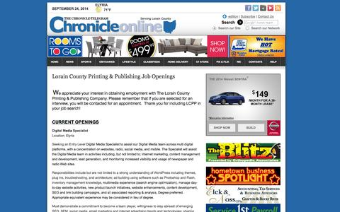 Screenshot of Jobs Page northcoastnow.com - Lorain County Printing & Publishing Job Openings - Chronicle-Telegram - captured Sept. 25, 2014