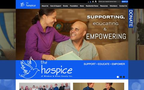 Screenshot of Home Page thehospice.ca - The Hospice of Windsor and Essex County - captured Feb. 15, 2016