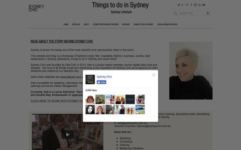 Screenshot of About Page sydneychic.com.au - Sydney Lifestyle Blog: Things to do in Sydney - captured Jan. 16, 2018