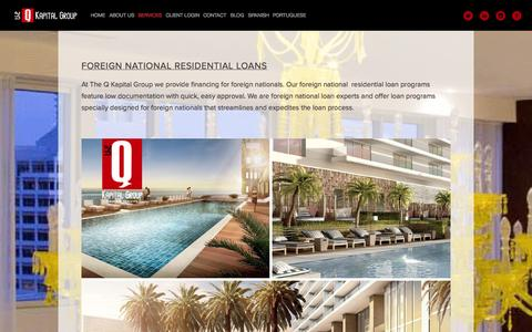 Screenshot of Services Page theqkapitalgroup.com - FOREIGN NATIONAL RESIDENTIAL LOANS — The Q Kapital Group - captured Oct. 6, 2014