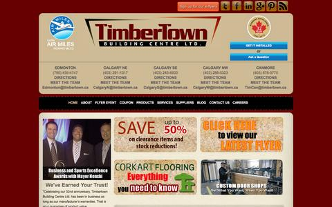 Screenshot of Home Page timbertown.ca - Timbertown| Hardwood Flooring Store in Calgary, Edmonton and Canmore - captured Sept. 30, 2014