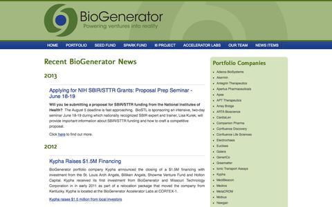Screenshot of Press Page biogenerator.org - BioGenerator - captured Sept. 30, 2014