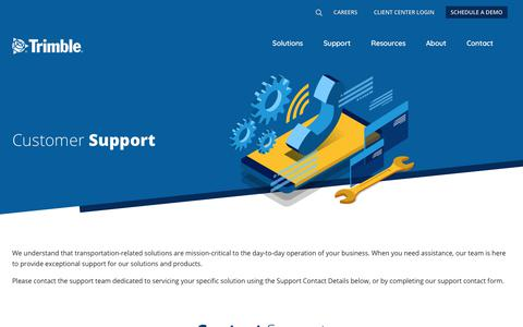 Screenshot of Support Page trimble.com - We Are Here to Help! | Transportation Management Software | Fleet Management | Trimble Transportation - captured April 22, 2019
