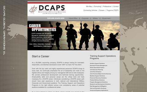 Screenshot of Jobs Page dcapsinc.com - Start a Career with DCAPS - captured Jan. 7, 2016