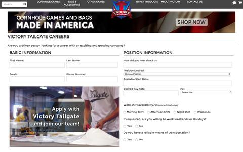 Screenshot of Jobs Page victorytailgate.com - Career Opportunities With Victory Tailgate - captured Oct. 21, 2015