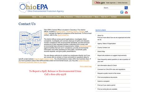 Screenshot of Contact Page ohio.gov - Contact Us - captured Sept. 18, 2014