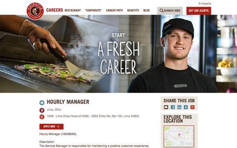 Screenshot of Jobs Page chipotle.com - Hourly Manager Description at CHIPOTLE - captured June 4, 2017