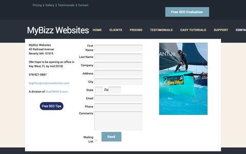 Screenshot of Contact Page mybizzwebsites.com - MyBizz Website Design | Beverly, MA  & Key West, FL - captured Oct. 19, 2018