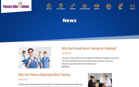 Screenshot of Press Page focuseduvation.com - e-Learning News and Innovations - Focus EduVation - captured Aug. 4, 2016