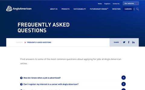Screenshot of FAQ Page angloamerican.com - Frequently asked questions – Anglo American - captured July 13, 2019