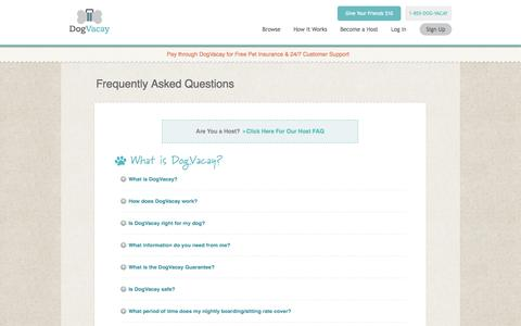 Screenshot of FAQ Page dogvacay.com - Frequently Asked Questions | DogVacay - captured Sept. 15, 2014