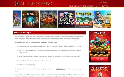 Screenshot of Login Page alleurocasino.com - All Euro Casino: Login to Your Casino Euro Account - captured Nov. 11, 2016