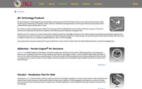 Screenshot of Products Page jkltech.in - JKL Technologies - Products | Social Objective Marketing Campaigns | English Vocabulary Tool | Cloud Services Adoption & Deployment Consultation - captured Oct. 4, 2014