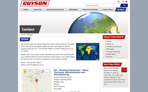 Screenshot of Contact Page guyson.co.uk - Worldwide Contact Details for Guyson International's Operational Divisions - captured Oct. 3, 2014