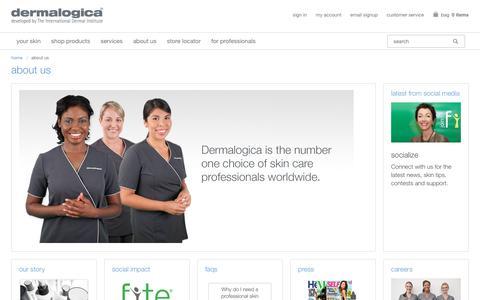 Screenshot of About Page dermalogica.com - About Us - Dermalogica - captured April 19, 2018