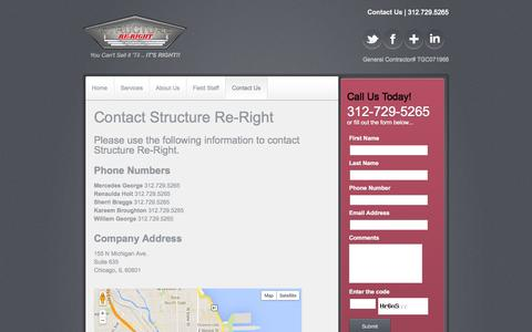 Screenshot of Contact Page structurereright.com - Contact Us - Structure Re-Right - captured Oct. 8, 2014