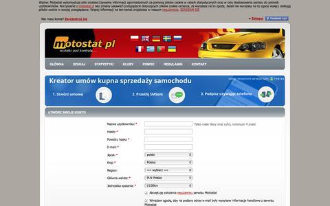 Screenshot of Signup Page motostat.pl - Utwórz swoje konto - Motostat - captured Sept. 20, 2018