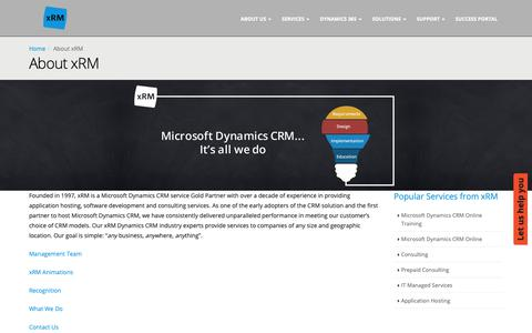Screenshot of About Page xrm.com - About Us   Microsoft Dynamics CRM Service   xRM - captured Oct. 18, 2018