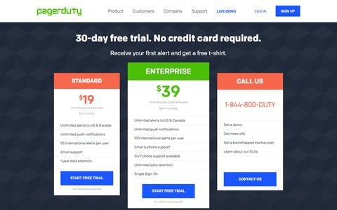 Screenshot of Pricing Page pagerduty.com - Pricing & Plans | PagerDuty - captured Sept. 12, 2014