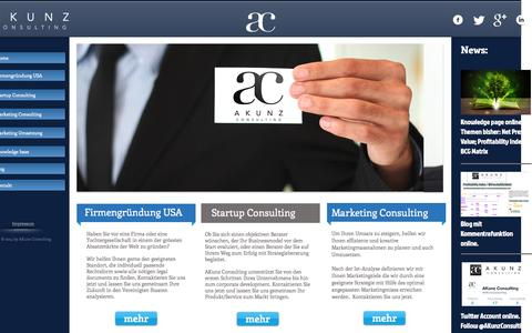 Screenshot of Home Page akunz-consulting.com - Startup Consulting - Firmengründung USA- Marketing Consulting - AKunz - captured Sept. 30, 2014