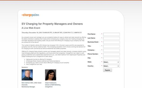 Screenshot of Landing Page chargepoint.com - EV Charging for Property Managers and Owners - captured Aug. 18, 2016
