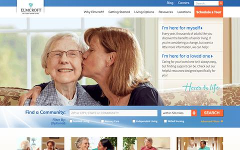 Screenshot of Home Page elmcroft.com - Assisted Living & Senior Living Facilities | Elmcroft Senior Living - captured Sept. 28, 2018