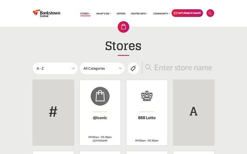 Screenshot of Services Page bankstowncentral.com.au - Stores - Bankstown Central Shopping Centre - captured Oct. 30, 2018