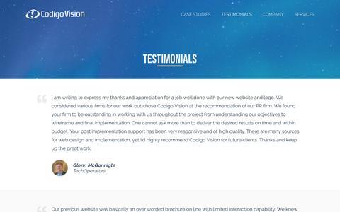 Screenshot of Testimonials Page codigovision.com - Testimonials   Codigo Vision - captured Nov. 5, 2018