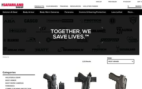 Screenshot of Products Page safariland.com - Law Enforcement Gear | The SAFARILAND Group - captured Oct. 7, 2016