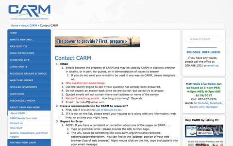 Screenshot of Contact Page carm.org - Contact CARM | carm - captured June 20, 2017