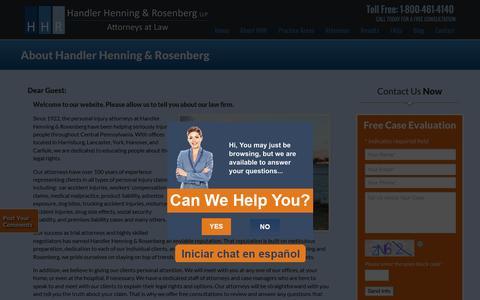 Screenshot of About Page hhrlaw.com - About Handler Henning & Rosenberg LLP - Law Firm in Lancaster, Carlisle, York & Harrisburg, Pennsylvania (PA) - captured Oct. 21, 2016