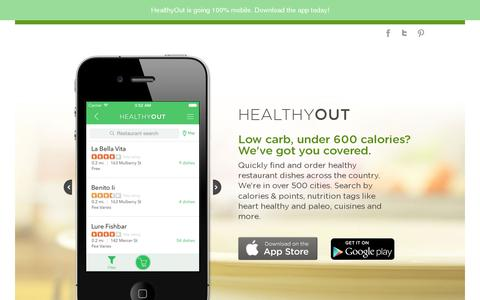 Screenshot of Home Page healthyout.com - HealthyOut - captured July 11, 2014