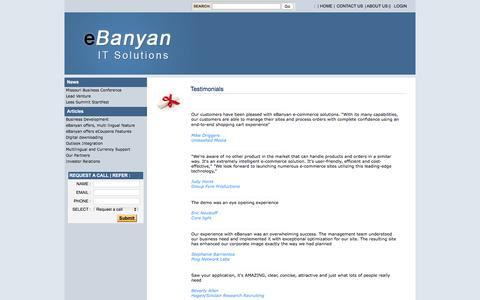 Screenshot of Testimonials Page ebanyan.com - Mentoring and Business Development - captured July 18, 2016
