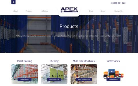 Screenshot of Products Page apexlinvar.co.uk - Products | Apex - captured July 30, 2018