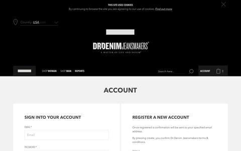 Screenshot of Login Page drdenimjeans.com - Create New Customer Account - captured Aug. 2, 2016